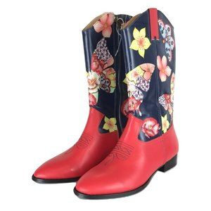 Size 8 Anuschka Butterfly Mosaic Cowgirl Boots